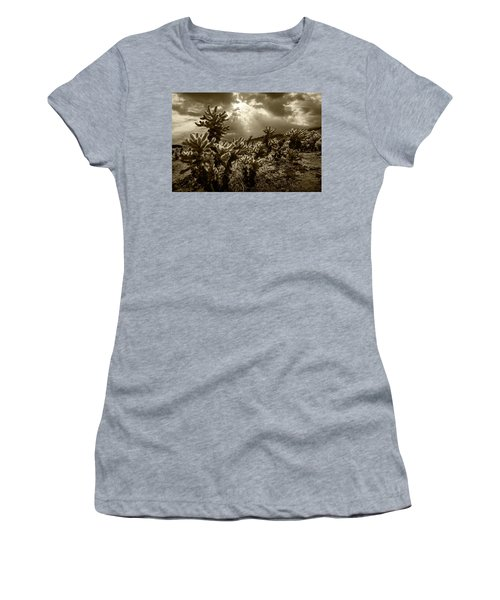 Women's T-Shirt (Junior Cut) featuring the photograph Sepia Tone Of Cholla Cactus Garden Bathed In Sunlight by Randall Nyhof