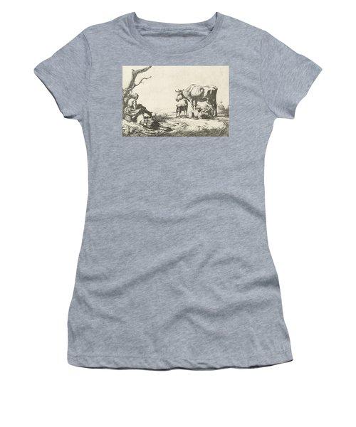Shepherd And Shepherdess With Cattle Women's T-Shirt