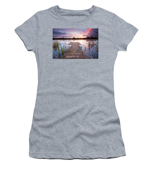 Shinewater Lake Sunrise Women's T-Shirt (Athletic Fit)