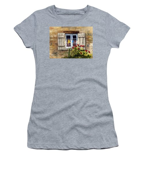Women's T-Shirt featuring the painting Shutters by Sam Sidders