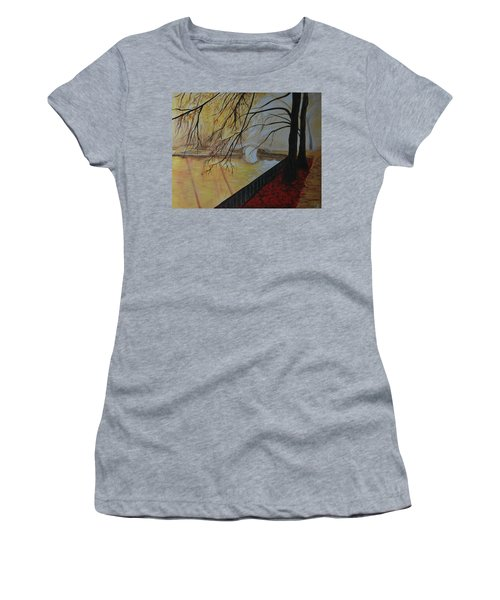Women's T-Shirt (Junior Cut) featuring the painting Silence by Leslie Allen