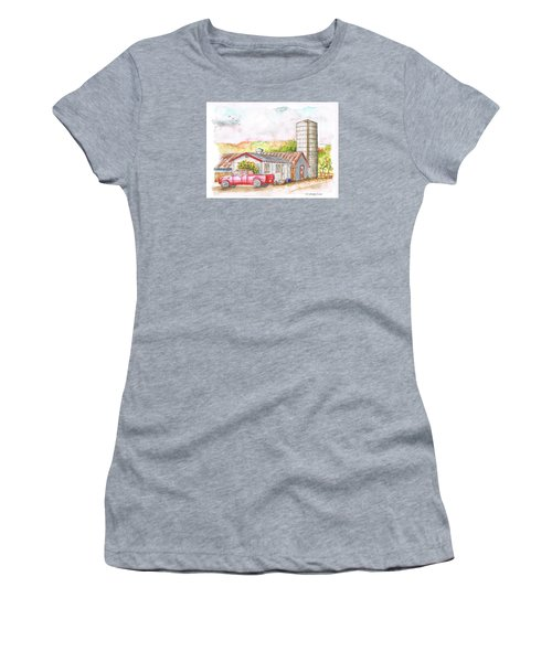 Silo In Los Olivos, California Women's T-Shirt (Athletic Fit)