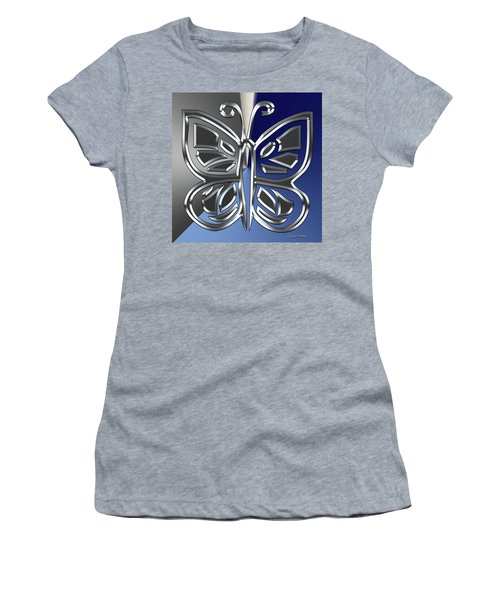Silver Butterfly Women's T-Shirt (Athletic Fit)
