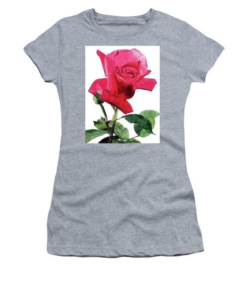 Single Bright Pink Rose Unfolding Women's T-Shirt