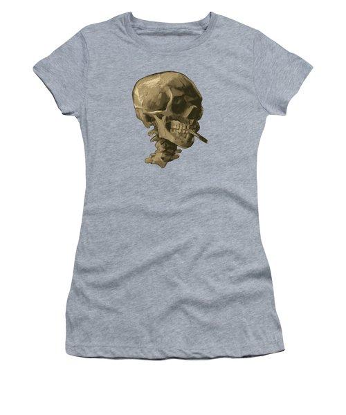 Skull Of A Skeleton With Burning Cigarette - Vincent Van Gogh Women's T-Shirt