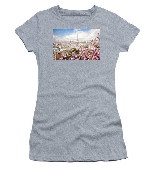 skyline of Paris with eiffel tower Women's T-Shirt (Junior Cut) by Anastasy Yarmolovich
