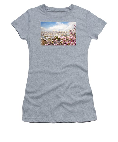 skyline of Paris with eiffel tower Women's T-Shirt (Athletic Fit)