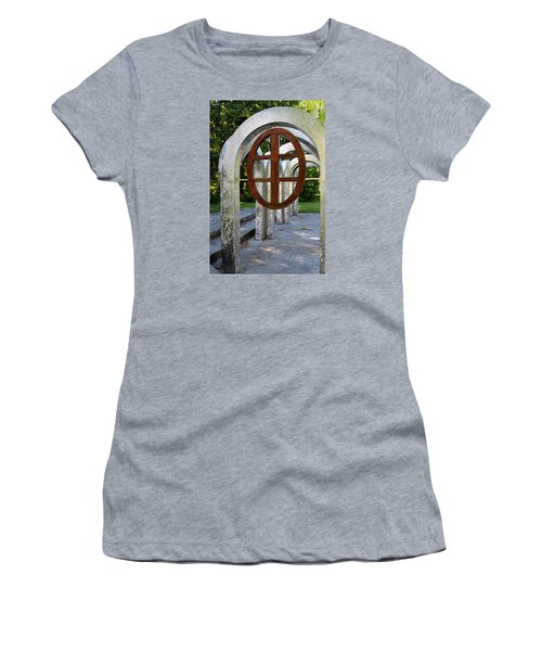 Women's T-Shirt (Junior Cut) featuring the photograph Small Park With Arches by Michiale Schneider