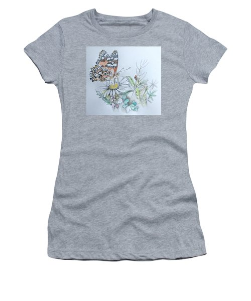 Women's T-Shirt featuring the drawing Small Pleasures by Rose Legge