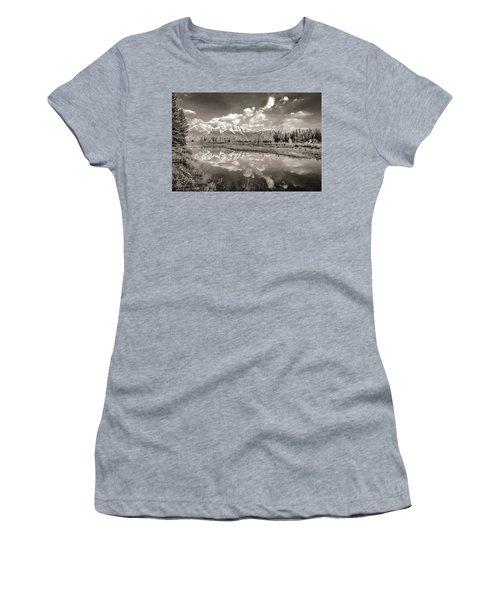 Snake River Reflection Grand Teton Monochromatic Women's T-Shirt (Athletic Fit)