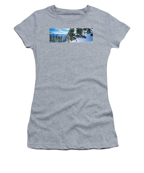 Snow Covered Trees On Mountainside Women's T-Shirt