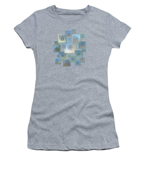 Women's T-Shirt featuring the photograph Snowflake Collage - Bright Crystals 2012-2014 by Alexey Kljatov