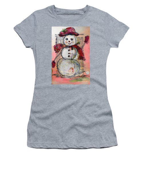 Snowman With Red Hat And Mistletoe Women's T-Shirt