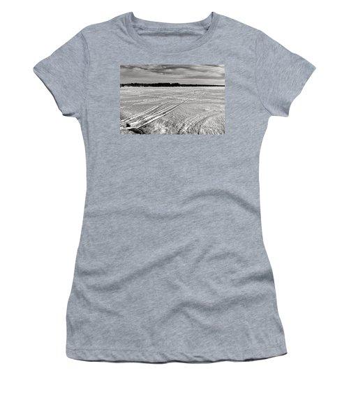 Snowmobile Tracks On China Lake Women's T-Shirt