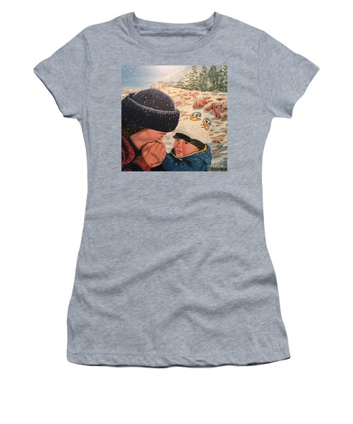Snowy Day With My Dad Women's T-Shirt