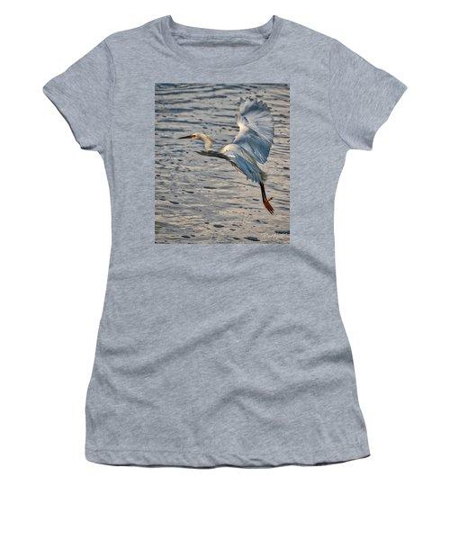 Snowy Egret Landing Women's T-Shirt (Athletic Fit)