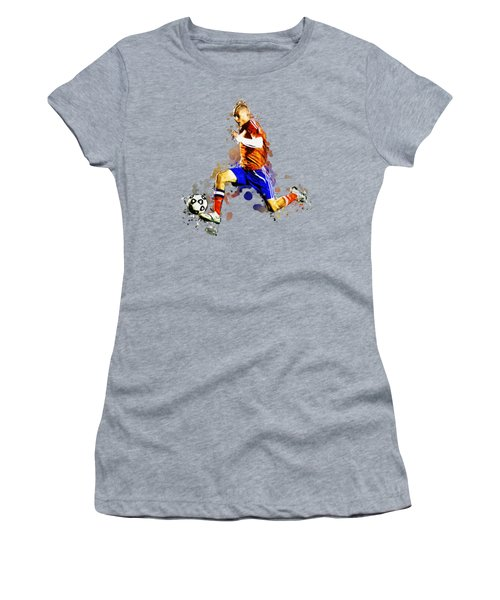 Soccer Player Moving The Ball In Stadium Women's T-Shirt (Athletic Fit)