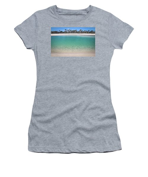 Sparkling Beach Lagoon On Deserted Beach Women's T-Shirt (Athletic Fit)