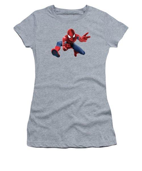 Women's T-Shirt (Junior Cut) featuring the mixed media Spider Man Splash Super Hero Series by Movie Poster Prints