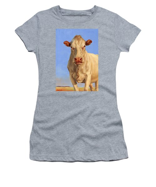 Women's T-Shirt (Junior Cut) featuring the painting Spooky Cow by Margaret Stockdale