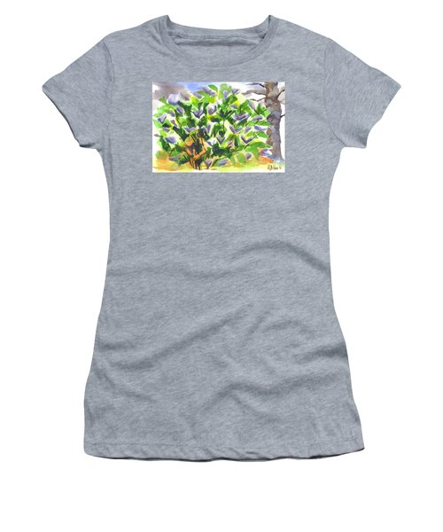Women's T-Shirt (Junior Cut) featuring the painting Springtime Lilac Abstraction by Kip DeVore