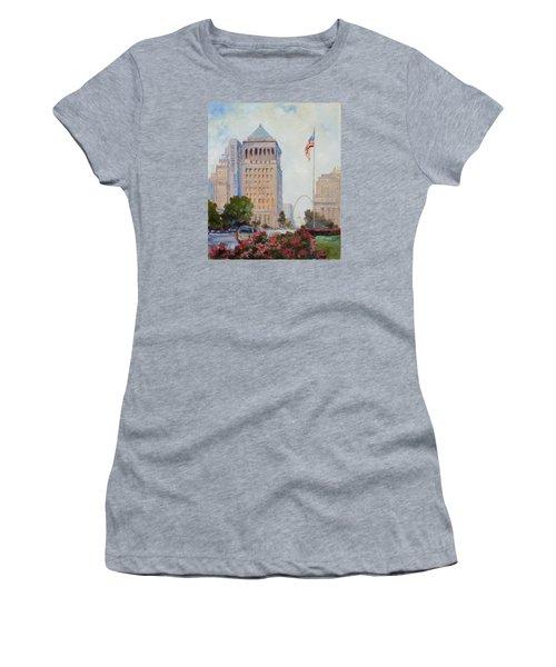 St. Louis Civil Court Building And Market Street Women's T-Shirt (Junior Cut) by Irek Szelag