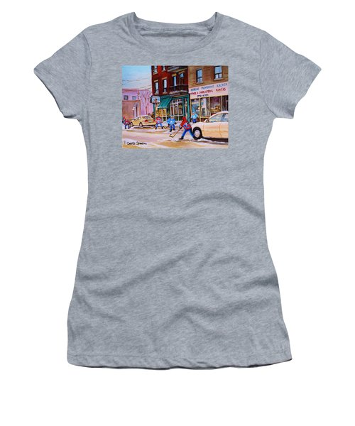 St. Viateur Bagel With Boys Playing Hockey Women's T-Shirt