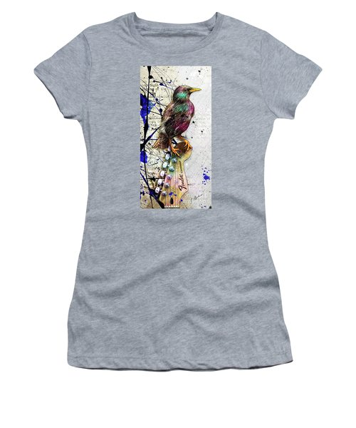 Starling On A Strat Women's T-Shirt (Junior Cut) by Gary Bodnar