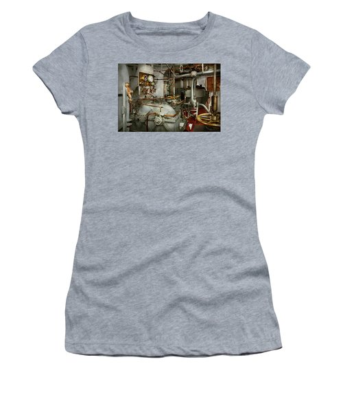 Women's T-Shirt (Athletic Fit) featuring the photograph Steampunk - In The Engine Room by Mike Savad