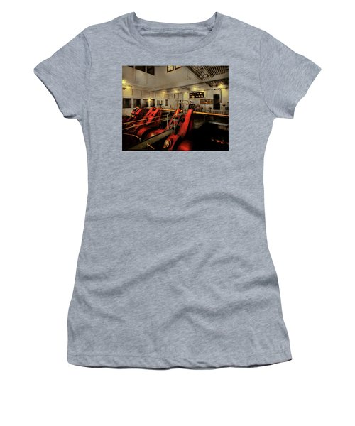 Women's T-Shirt (Athletic Fit) featuring the photograph Steampunk - Man The Controls 1908 by Mike Savad
