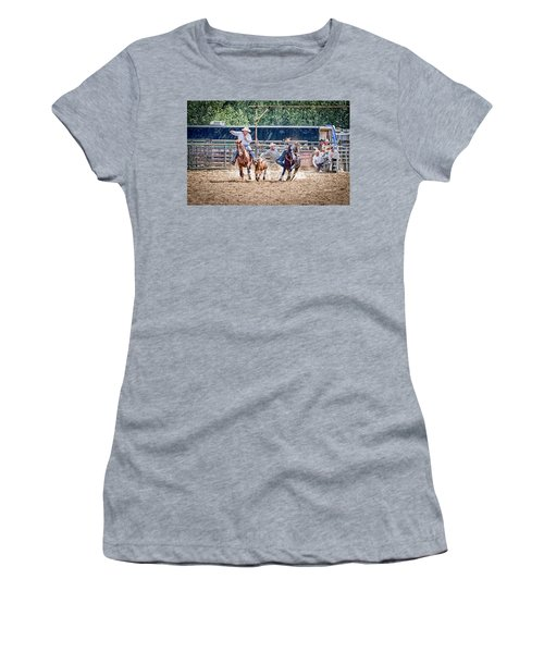 Women's T-Shirt (Junior Cut) featuring the photograph Steer Wrestling With An Audience by Darcy Michaelchuk