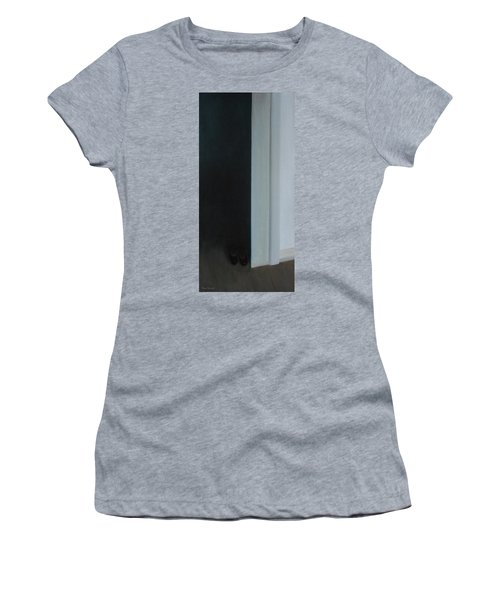 Women's T-Shirt (Junior Cut) featuring the painting Stepping Into The Light? by Tone Aanderaa