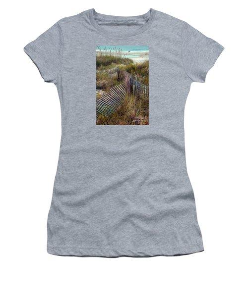Women's T-Shirt (Junior Cut) featuring the photograph Stick Fence Ocean by Linda Olsen
