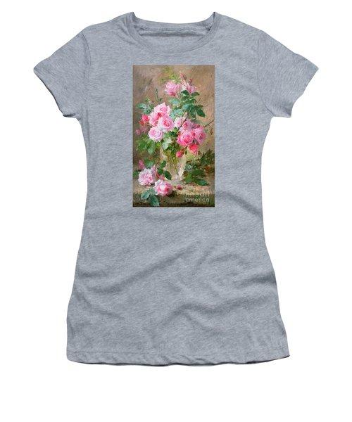 Still Life Of Roses In A Glass Vase  Women's T-Shirt