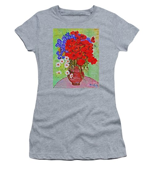 Still Life With Poppies And Blue Flowers Women's T-Shirt (Athletic Fit)