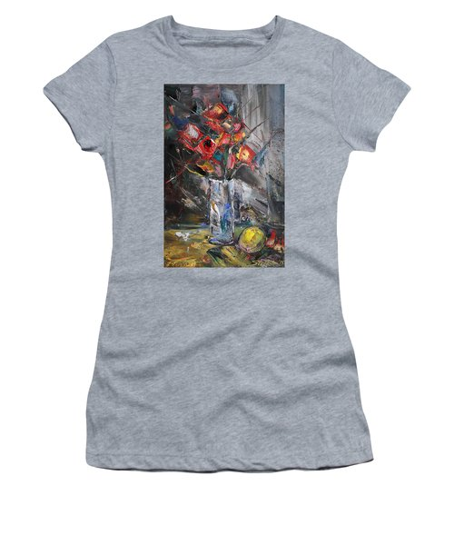 Still Life With Red Flowers And Lemon Women's T-Shirt