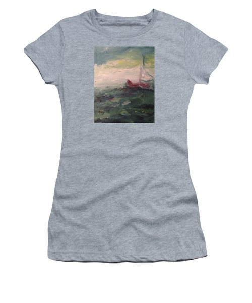 Stormy Sailboat Women's T-Shirt (Junior Cut) by Roxy Rich