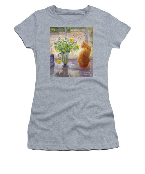 Striped Jug With Spring Flowers Women's T-Shirt (Athletic Fit)