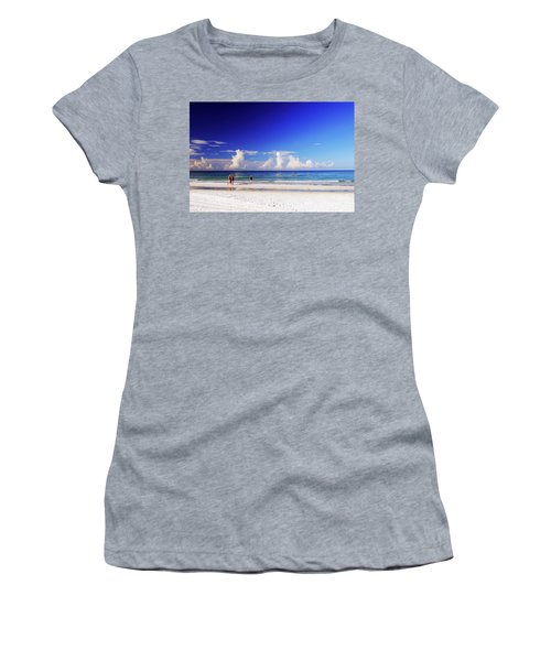 Women's T-Shirt (Athletic Fit) featuring the photograph Strolling The Beach by Gary Wonning