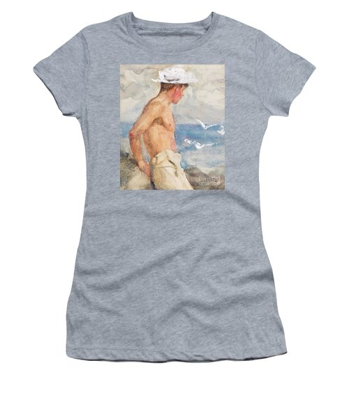 Study Of A Young Man Looking Out To Sea Women's T-Shirt