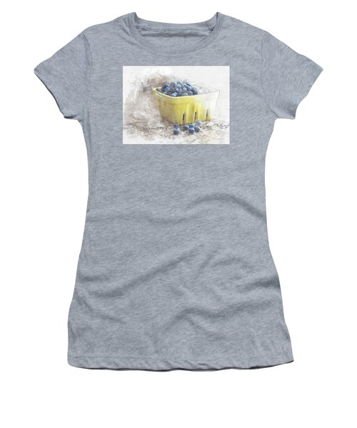 Women's T-Shirt (Athletic Fit) featuring the digital art Summer Blueberries by Sue Collura