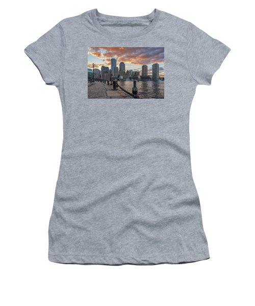 Summer Sunset At Boston's Fan Pier Women's T-Shirt