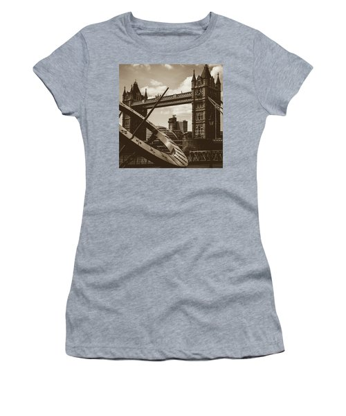 Women's T-Shirt featuring the photograph Sun Clock With Bridge Tower London In Sepia Tone by Jacek Wojnarowski