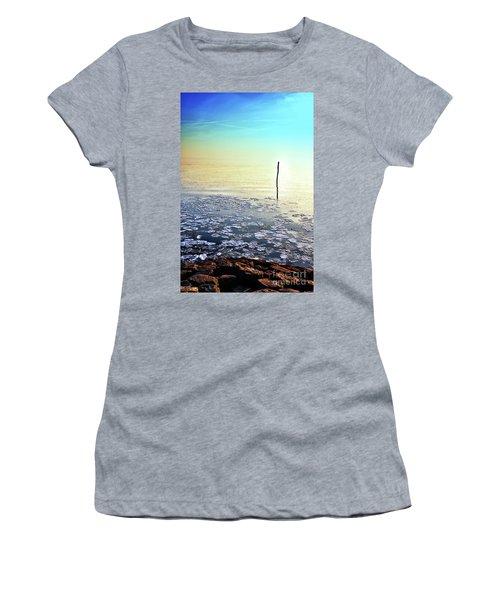 Sun Going Down In Calm Frozen Lake Women's T-Shirt