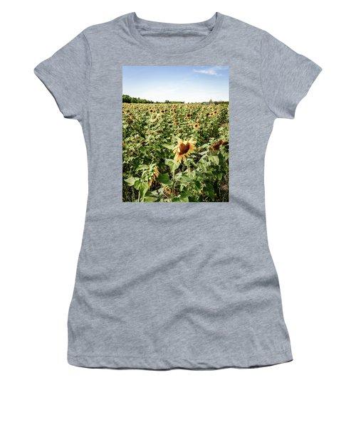 Women's T-Shirt (Junior Cut) featuring the photograph Sunflower Field by Alexey Stiop