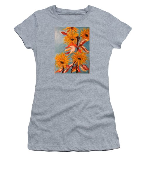 Sunflowers At Harvest Women's T-Shirt (Junior Cut) by Sharyn Winters