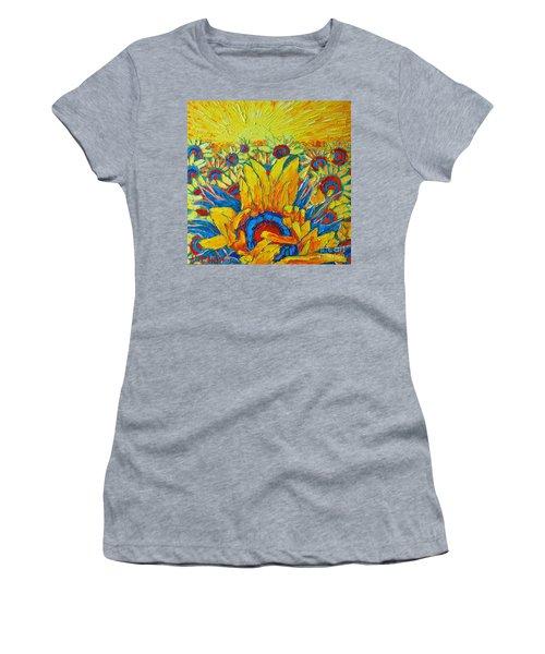 Sunflowers Field In Sunrise Light Women's T-Shirt