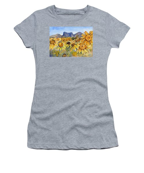 Women's T-Shirt featuring the painting Sunflowers Springsure, Queensland by Ryn Shell