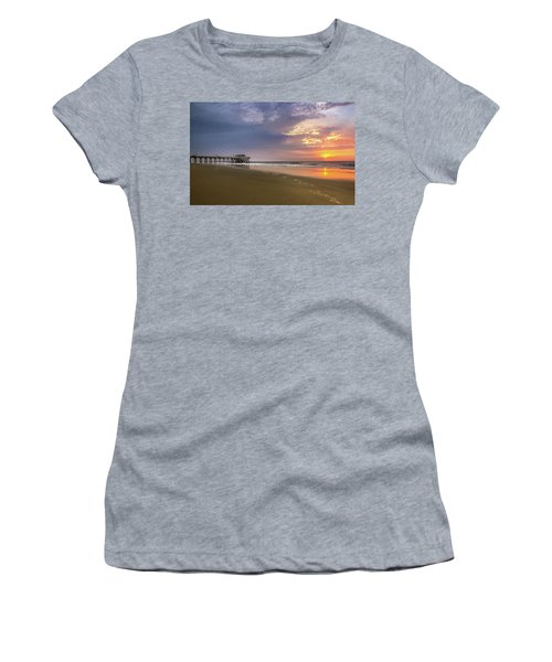 Women's T-Shirt featuring the photograph Sunrise At Tybee Island Pier by James Woody