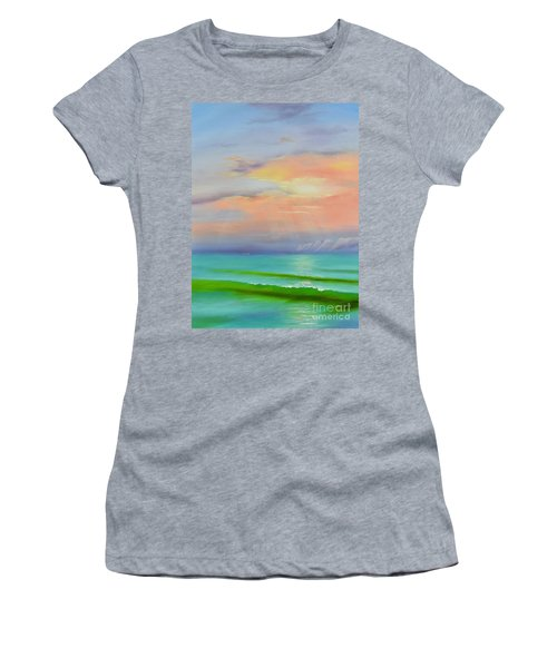Women's T-Shirt featuring the painting Sunset At Dana Point  by Mary Scott